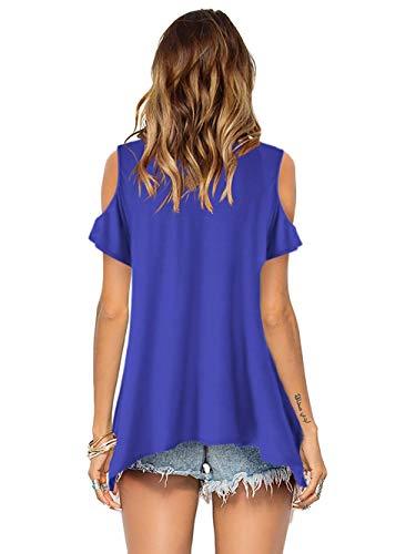 Florboom Women Short Sleeve Cold Off Shoulder Top Loose Blouse T Shirts Bule 2XL Blue