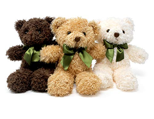 Fluffuns Teddy Bear Plush - Cute Teddy Bears Stuffed Animals in 3 Colors - 3-Pack of Stuffed Bears - 9 Inch Height from Fluffuns