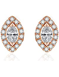14k White/Rose Gold Marquise Cut Diamond Statement Stud Earrings For Women Girls (0.22cttw, I-J Color, SI2 Clarity)