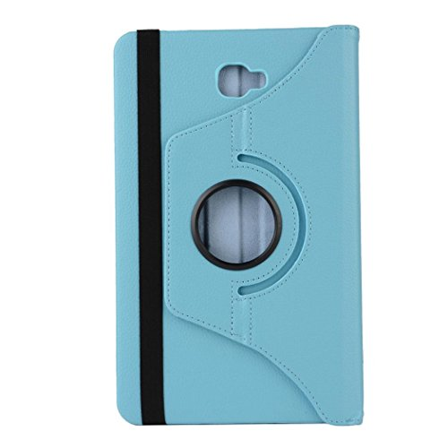 Iusun 360-degree Rotating Premium Leather Folding Cover Durable Stand Case Shell For Samsung Galaxy Tab A 10.1 2016 T580N (Sky Blue)