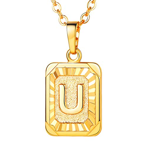 18k Gold Pendant Necklace - A-Z 26 Letters Pendant Men Womens Fashion Jewelry 18K Gold Plated Square Pendants Capital Initial Necklace (U)