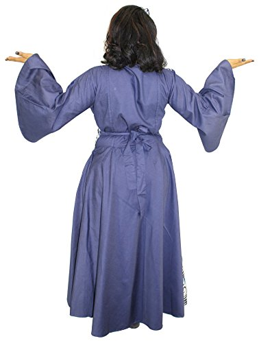 Denim Assorted Print Wrap Maxi Dress with Bell Sleeves (Gray & Blue) by African Planet (Image #4)