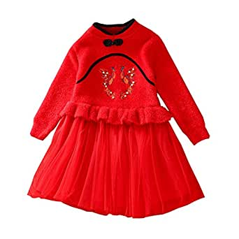 Xifamniy Infant Girls Long Sleeve Skirt Cotton Phoenix Embroidery Sweater Mesh Dress Red
