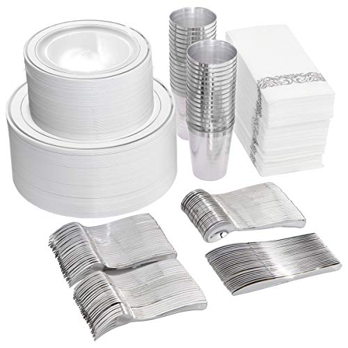 800 Piece Silver Dinnerware Set-200 Silver Plastic Plates-300 Silver Plastic Silverware Set-100 Cups-100 Napkins-100 Paper Straws,Silver Dinnerware Set for Party or Wedding up to 100 Guests (Silver) (Up Set Napkin)
