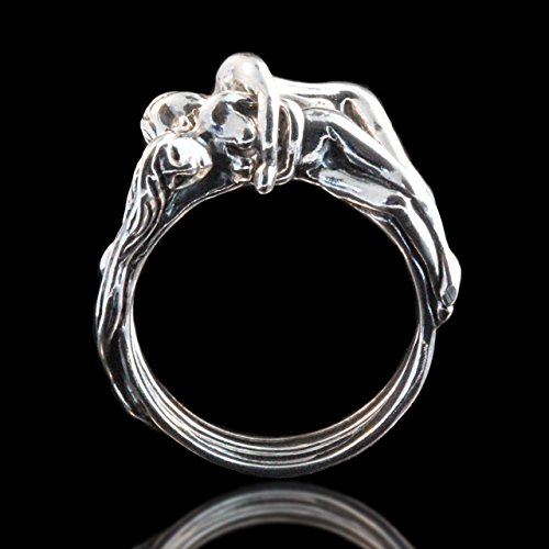 Embrace Natural Wax (People Ring Silver Spooning Lovers Puzzle Ring)