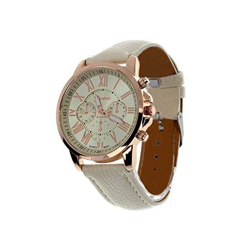 Fortan 2016 Frauen Kunstleder analoge Quarz-Armbanduhr-Beige
