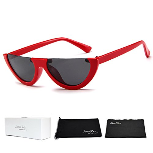 SamuRita Bold Half Lens Frame Cat Eye Sunglasses Mod Tinted Retro Shades(Black+Red - Black Red Sunglasses And
