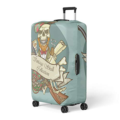 Pinbeam Luggage Cover Red Hat Gentleman Skull Vintage Collection Scotland Scotsman Travel Suitcase Cover Protector Baggage Case Fits 18-22 inches