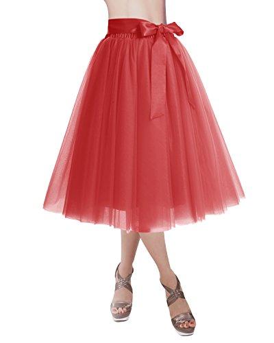 Dresstells Jupon Jupe en Tulle 4 Couches Ceinture Dtachable Couleurs Varies Rouge