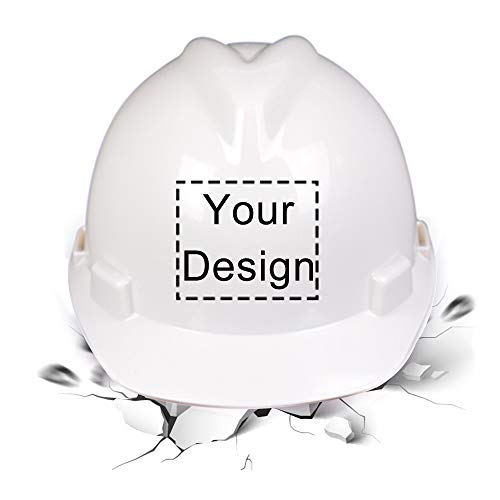 Construction Hard Hats With Logo (High Visibility Reflective Safety Hard Hat Customize Logo Protective Head Outdoor Work Hat (White)