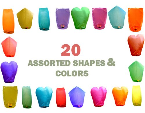 Just-Artifacts-20-Assorted-ColorShape-Flying-Sky-Floating-Lanterns-Set-of-20-Regular-Assorted