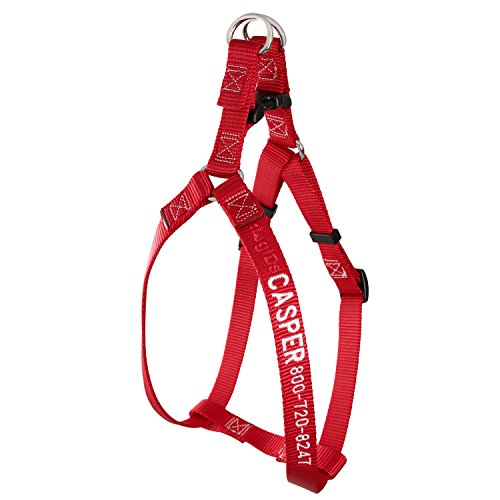 Embroidered Nylon Dog Harness with Plastic Buckle - Red - Large - Dog Harness Embroidered
