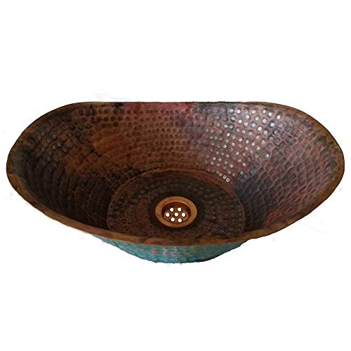 Textured Green Rustic Vessel Copper Bathtub Bathroom Sink Household Toilet Restroom Remodeling Improvement Project from Pharos Artisans