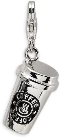 Sterling Silver 3-d Enameled To Go Coffee Cup W//lobster Clasp Charm