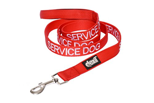 Dexil Limited Service Dog Red 4ft 6ft Padded Dog Leash Prevents Accidents by Warning Others of Your Dog in Advance (6ft)