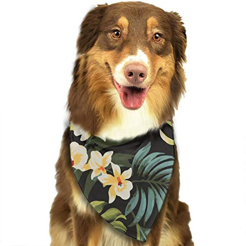 MODREACH Tropical Hawaiian Flowers Dog Bandanas - Washable and Reversible Triangle Cotton Dog Bibs Scarf Assortment Suitable for Puppy Small and Medium Pet