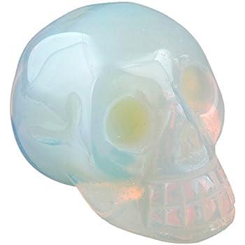 rockcloud Healing Crystal Stone Human Reiki Skull Figurine Statue Sculptures Opalite 1.5