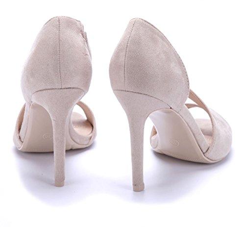 Schuhtempel24 Damen Schuhe Sandaletten Sandalen Stiletto 10 cm High Heels Beige