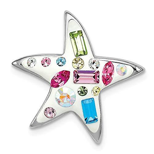 (Sterling Silver Rhodium Plated Stellux Crystal Star Slide)