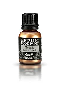Ready-to-use Metallic Dark Gold 100% Edible Food Paint for Cake and Icing Decoration by Rainbow Dust