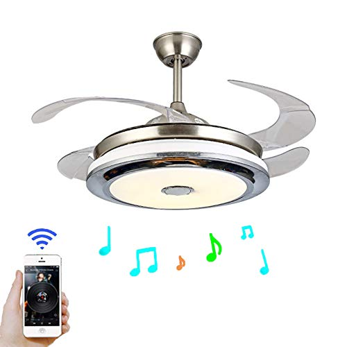 - Modern 42'' Ceiling Fan with Light LED Integration Three-Color Light with Bluetooth Smart Phone Player and Remote Control Speed Adjustment ABS Invisible Blade (42in)