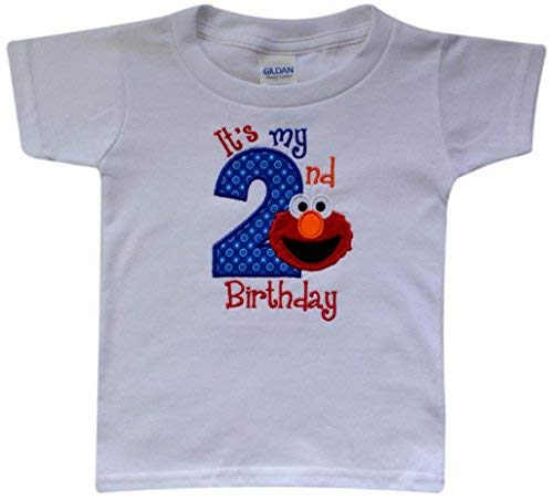 - Funny Girl Designs Embroidered ELMO It's My Second Birthday Turning 2 Children's T - Shirt (3T Unisex)