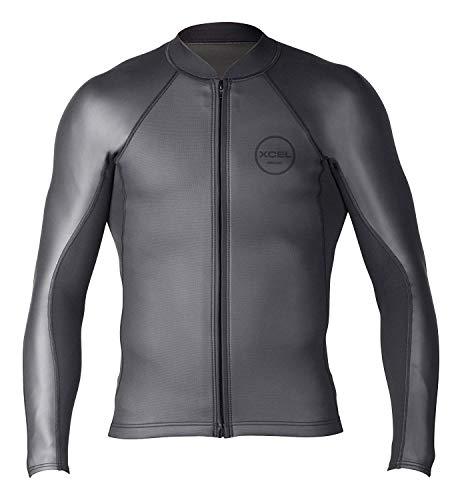 (Xcel 2/1mm Axis Sharkskin Front Zip Long Sleeve Jacket, Black, Large )