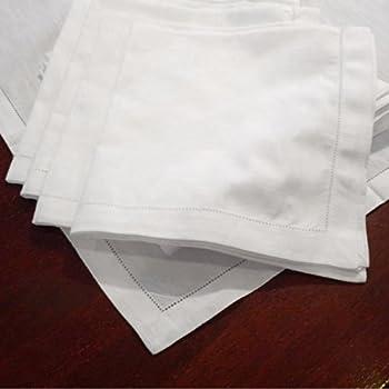 Hemstitch Dinner Napkins Set of 12 - White - One Dozen - 100% Egyptian Cotton - Elegant Cloth - Super Value Bulk 12 Pack
