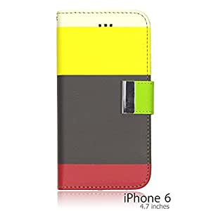 OnlineBestDigital - Rainbow Style PU Leather Wallet Case for Apple iPhone 6 (4.7 inch)Smartphone - Brown with 3 Screen Protectors
