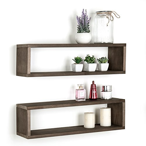 Dark Brown Wood Finish Wall Mounted 24-Inch Floating Shelf, Rectangular Display Shadow Boxes, Set of 2