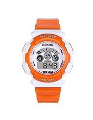 TOOPOOT® Waterproof Children Boy Digital LED Quartz Alarm Date Sports Wrist Watch (Orange)