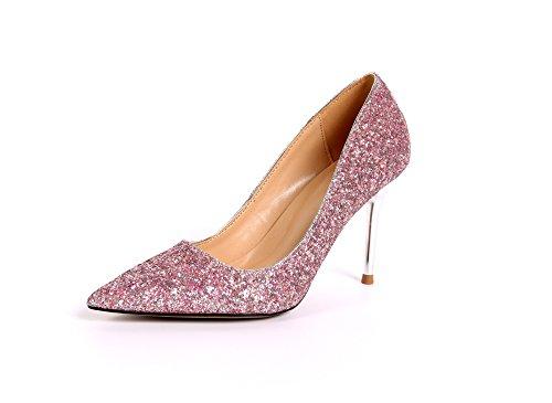 ZHUDJ Flach Silber Wies High Heels Und Schlanken Glänzt In Der Schlanken Glänzt Der Schuh Crystal Brautjungfern Braut Verheiratet Schuh Frau Pink 7CM