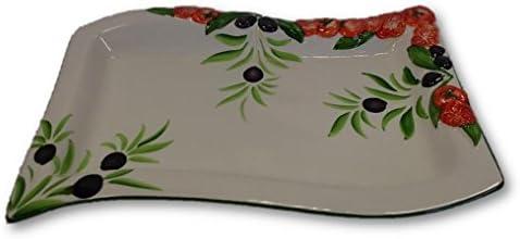 Italienische Keramik Reliefkeramik Geschirr Platte Rechteckig Tomate