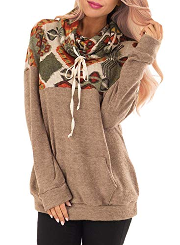 (Malaven Women's Cowl Neck Floral Printed Patchwork Drawstring Pullover Sweatshirt Long Sleeve Tops Brown M 8 10)
