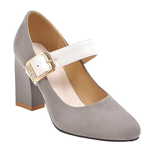 Mee Shoes Women's Charm Buckle Block Heel Court Shoes Grey