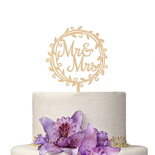 Romantic Wooden Mr and Mrs Wedding Cake Topper Cake Picks for Wedding Party Cake Decoration Supplies (Garland)
