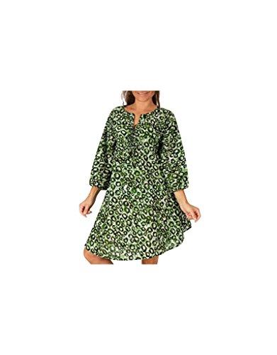 Modeincoton - Algodón túnica larga manga 3/4 pequeño escote en v Modeincoton TUM098 Multicolor