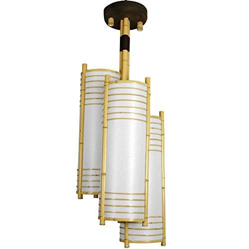 Oriental Furniture Chandelier Light Fixture, 41-Inch Kamakura Japanese Bamboo Electric Hanging Lantern