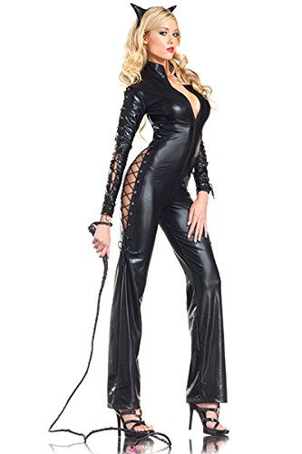 [Be Wicked Two-Faced Catwoman Costume, Black, Small/Medium] (Two Faced Halloween Costumes)