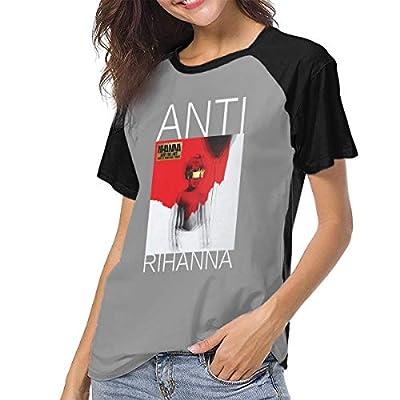Womens Baseball Tee Short Sleeve Raglan Shirt Rihanna-Anti