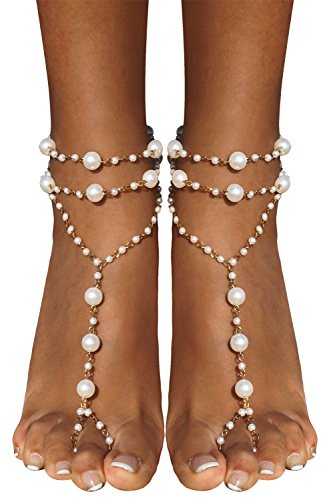 Bienvenu Ivory Pearl Beach Wedding Barefoot Sandals Dancing Ankle Bracelet, Gold ()