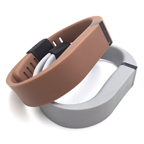 I-SMILE® 2pcs Replacement Bands with Metal Clasps for Fitbit Flex / Wireless Activity Bracelet Sport Wristband / Fitbit Flex Bracelet Sport Arm Band (No tracker, Replacement Bands Only) (Grey&Coffee,Large)