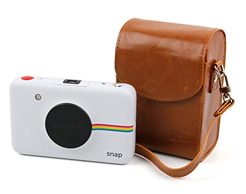 DURAGADGET Durable & Ultra-Portable, Retro-Inspired Compact Camera Case in 'Vintage' Brown for the Polaroid Snap and Polaroid Snap Touch - (Optional Belt Clip Snap)