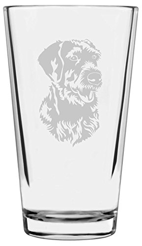 German Wirehaired Pointer Dog Themed Etched All Purpose 16oz Libbey Pint Glass