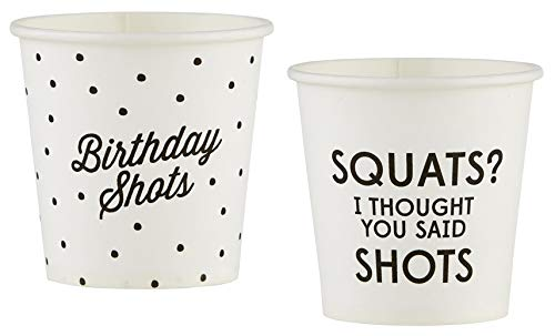 20 Count Birthday Shot Glass Set | Paper Shot Glasses for 21st, 30th, 40th, 50th Happy Birthdays and More | 2 Designs | By Santa Barbara Design Studio -