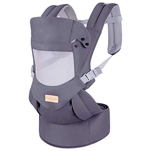 Ergonomic Baby Carrier with Hip Seat Soft & Breathable Baby Carriers,All Positions Front and Back for Infants to Toddlers,Up to 38lbs,Grey (Dark Grey)