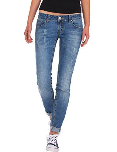 Fraternel pantalon jeans femme skinny used taille basse Bleu