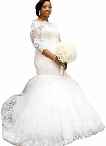 3075d780be38 Yuxin Elegant Plus Size Wedding Dress 2018 Long Sleeves Appliqued Lace  Mermaid Bridal Gowns