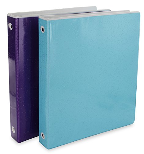 Glitter Disc - Emraw Heavy-Duty Glitter 3-Way View 3-Ring Binder 1-Inch - Used for Papers, Loose-Leafs, Business Cards, Compact Discs, Etc. (2-Pack)