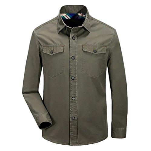 Armée Air Manches Plein Vert Hommes Solide Pour Style Tops Baymate Chemise Longues Loose Usure Y7aqw5q